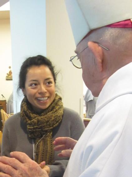 Karia Roche with Bishop Pheifer
